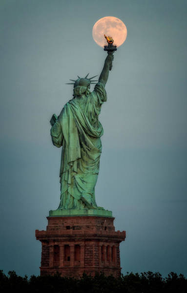 Photograph - Full Moon Statue Of Liberty by Susan Candelario