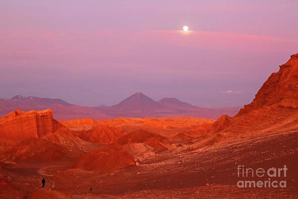 Photograph - Full Moon Sunset Over Valle De La Luna Atacama Desert Chile by James Brunker