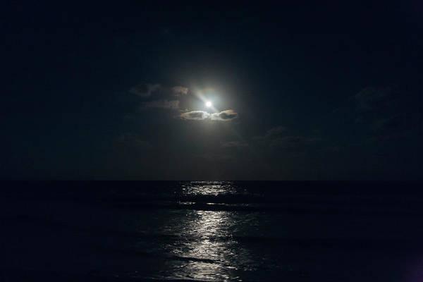 Quintana Roo Photograph - Full Moon Through Clouds Over The Ocean by Sasha Weleber