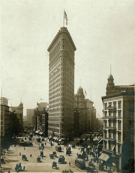 Flatirons Photograph - Fuller Flat Iron Building, New York by The New York Historical Society