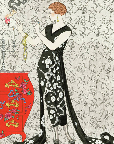 Wall Art - Drawing - Fumee Or Smoke  Robe Du Soir, De Beer by Georges Barbier