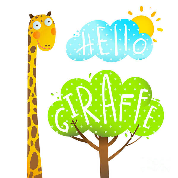 Quirky Wall Art - Digital Art - Fun Cartoon African Giraffe Animal With by Popmarleo