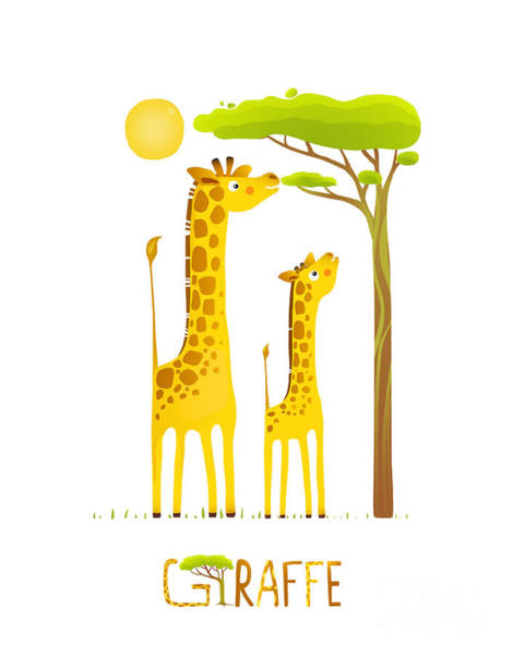 Wall Art - Digital Art - Fun Cartoon African Giraffe Animals by Popmarleo