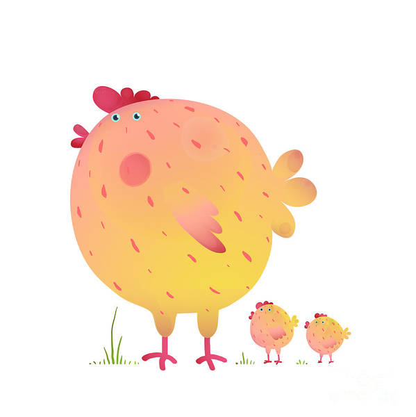 Wall Art - Digital Art - Fun Colorful Mother Chicken Bird And by Popmarleo