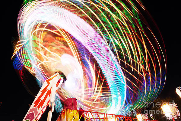 Wall Art - Photograph - Fun Fair, Long Exposure. Colourful by David Mg