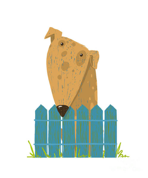 Friendly Wall Art - Digital Art - Fun Farm Cute Dog Sitting Over Fence by Popmarleo