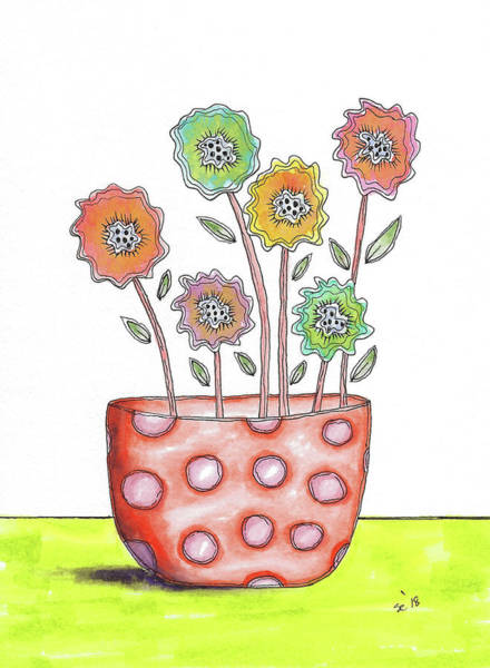 Painting - Fun Flowers In A Pot by Susan Campbell