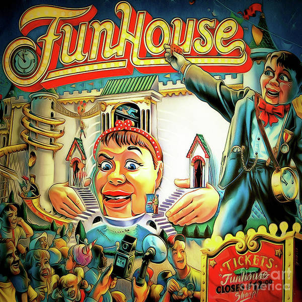 Photograph - Fun House Pinball Machine Arcade Nostalgia 20181223 Square by Wingsdomain Art and Photography