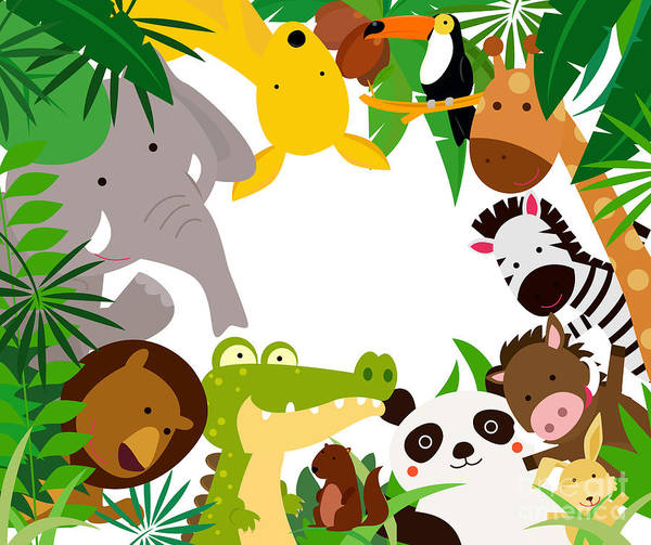 Border Wall Art - Digital Art - Fun Jungle Animals Border by Suerz