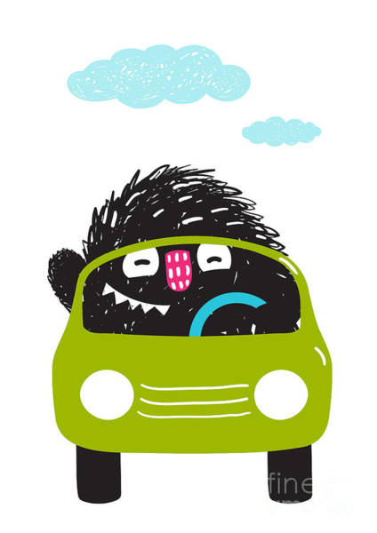 Quirky Wall Art - Digital Art - Fun Monster Driving Car Cartoon For by Popmarleo