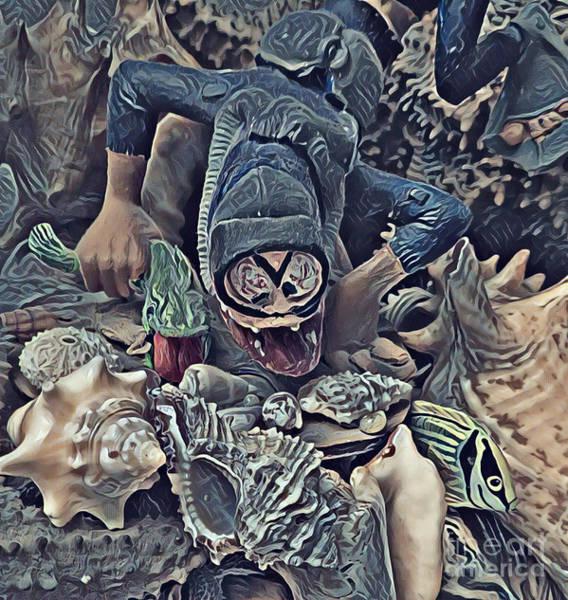 Reef Diving Digital Art - Fun Scuba Dive Design by John Malone