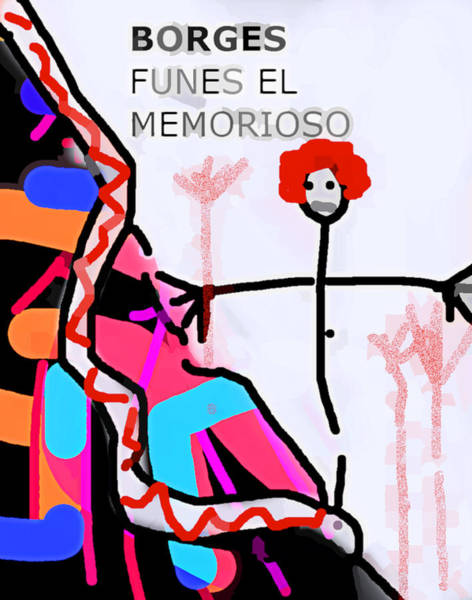 Drawing - Funes Borges  Poster by Paul Sutcliffe