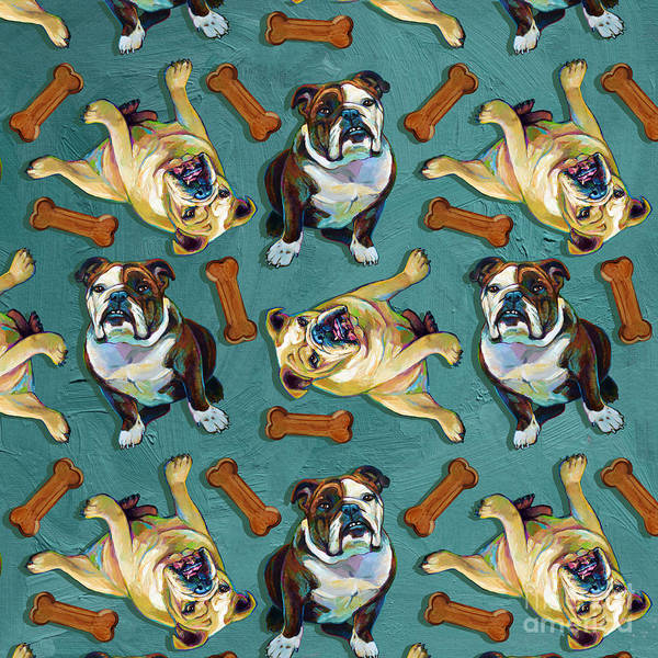 English Bulldog Painting - Funky Bulldog And Bones Pattern by Robert Phelps