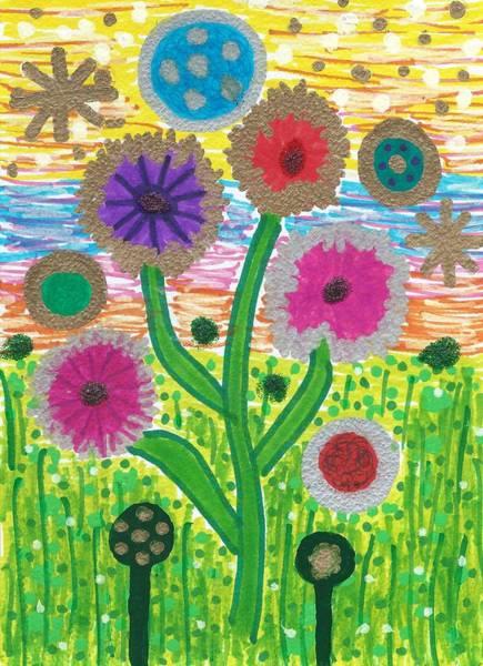 Drawing - Funky Flowers Return by Susan Schanerman