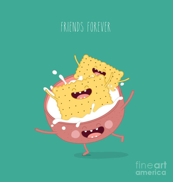 Wall Art - Digital Art - Funny A Cookies Swimming In A Cup With by Serbinka