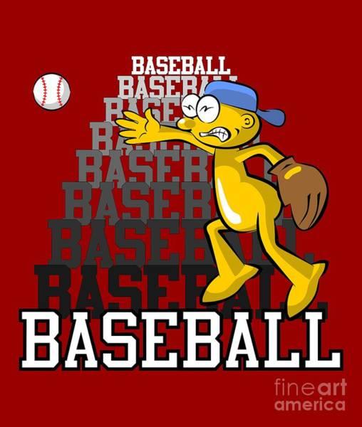 Sportsman Digital Art - Funny Baseball Pitcher by Daniel Ghioldi