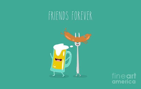 Wall Art - Digital Art - Funny Beer With Sausage. Vector by Serbinka
