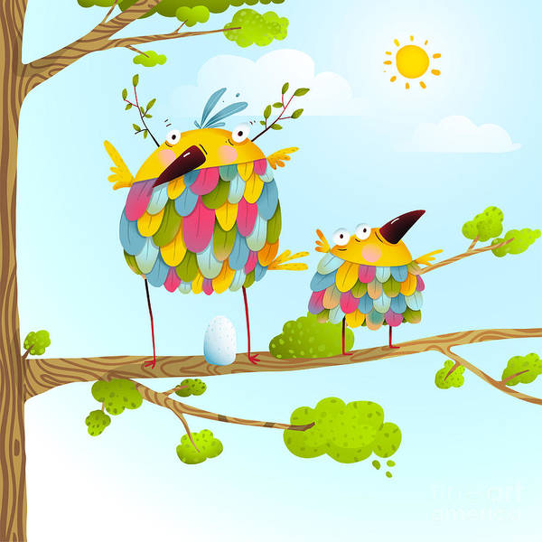 Wall Art - Digital Art - Funny Bird On Tree Family Mother And by Popmarleo