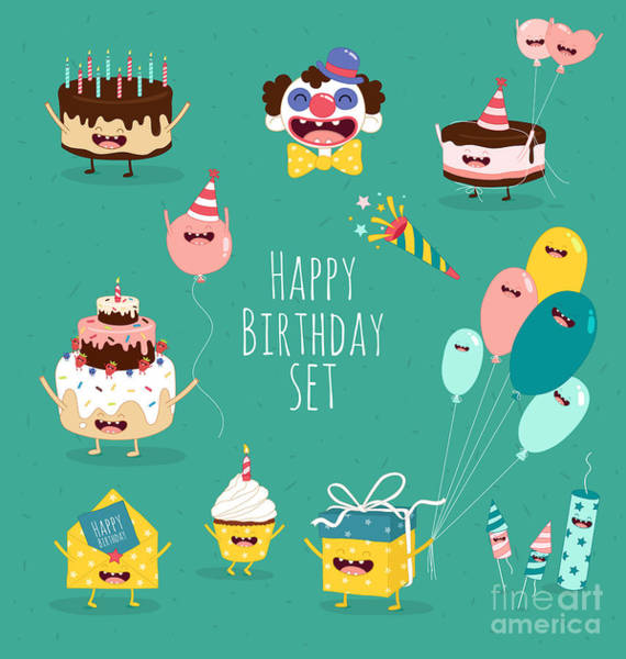 Birthday Gift Wall Art - Digital Art - Funny Birthday Set. Birthday Cake by Serbinka