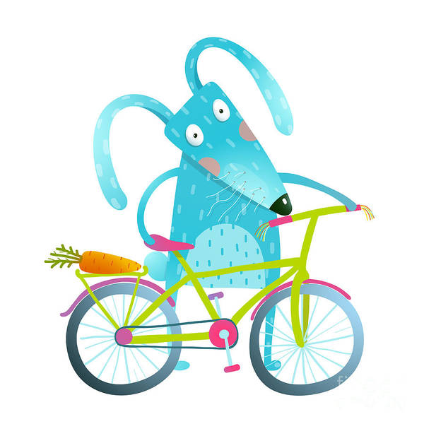 Bicyclist Wall Art - Digital Art - Funny Blue Bunny With Bicycle And by Popmarleo