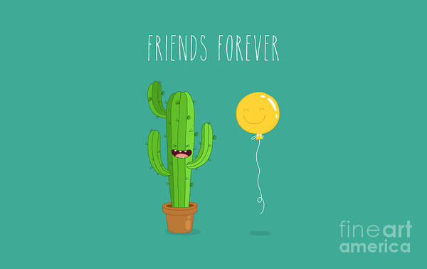 Funny Cactus With Air Balloon. Vector Art Print
