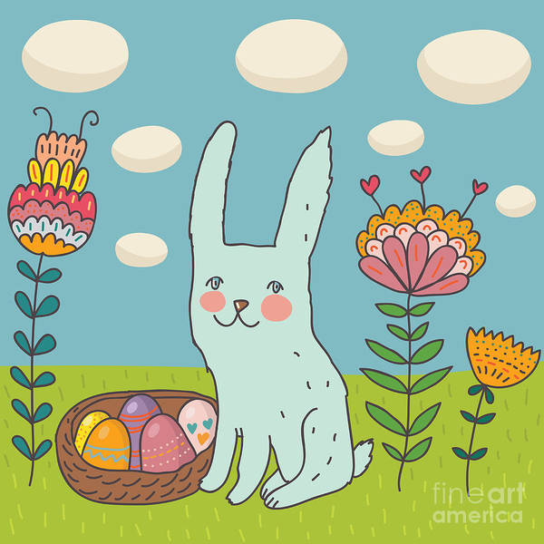 April Wall Art - Digital Art - Funny Cartoon Easter Rabbit by Smilewithjul