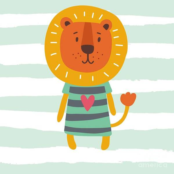 Wall Art - Digital Art - Funny Cartoon Lion Vector Print by Nadezda Barkova
