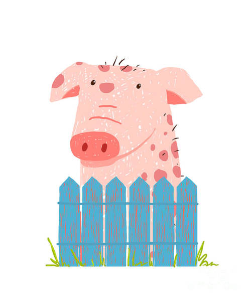 Wall Art - Digital Art - Funny Cartoon Pig Sitting Over Fence by Popmarleo