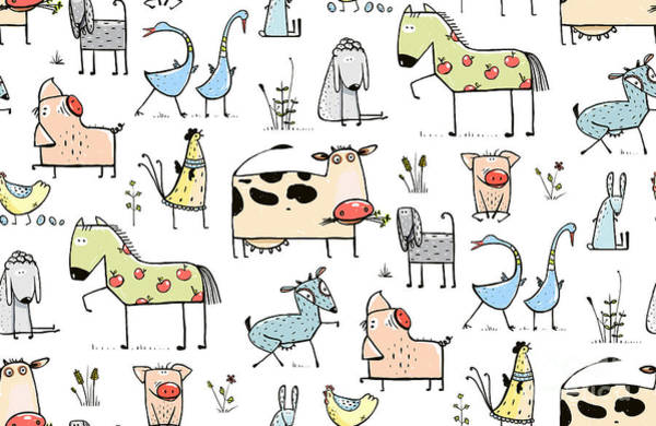 Funny Cartoon Village Domestic Animals Art Print