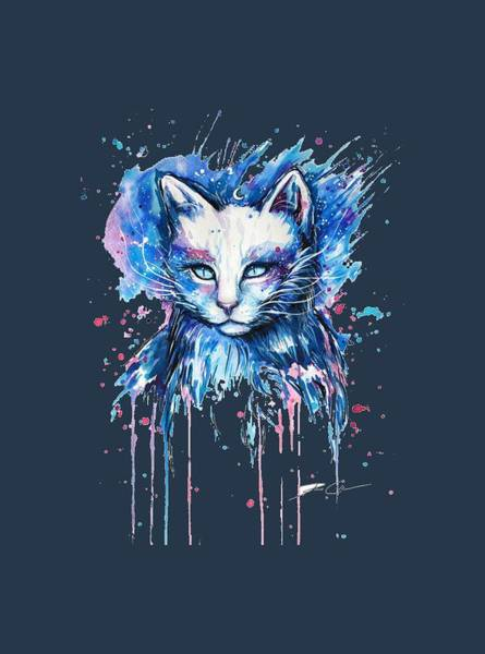 Furry Drawing - Funny Cat   Isolated On A Blue Background. by Duminda Koswatta