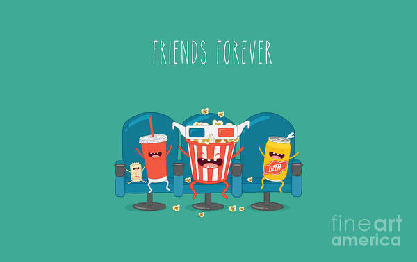 Wall Art - Digital Art - Funny Characters Cola, Ticket, Popcorn by Serbinka