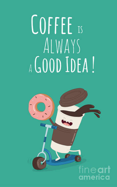 Funny Coffee With Donut On The Kick Art Print by Serbinka