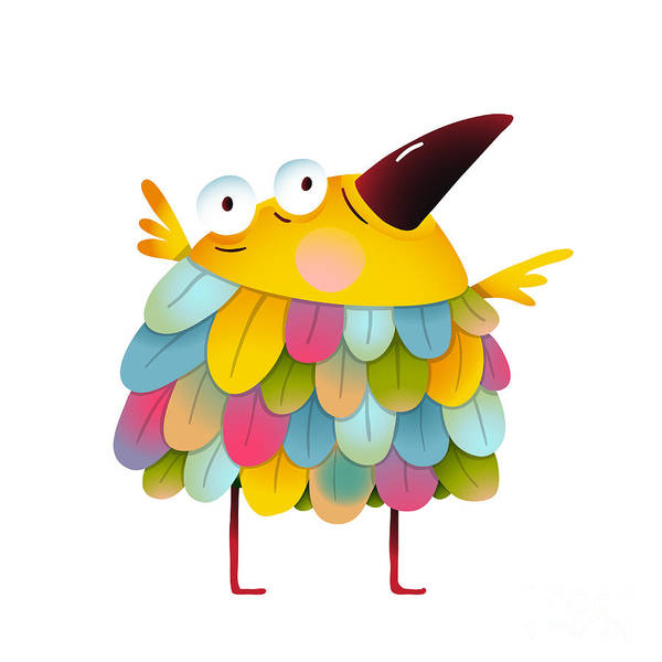 Wall Art - Digital Art - Funny  Colorful Bird For Kids Cartoon by Popmarleo