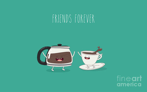 Wall Art - Digital Art - Funny Cup Of Coffee And Funny Coffee by Serbinka