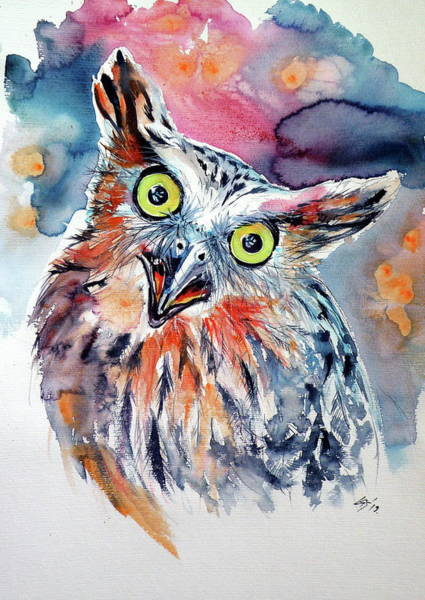 Wall Art - Painting - Funny Cute Owl by Kovacs Anna Brigitta