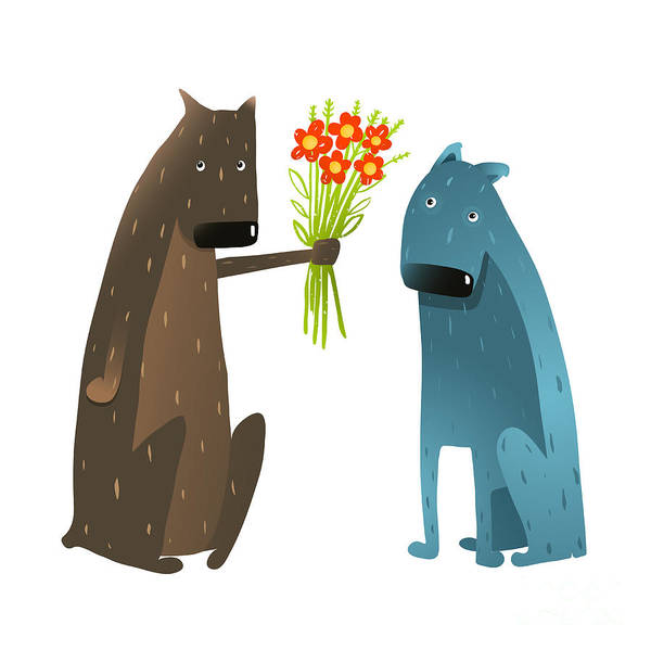 Two Friends Wall Art - Digital Art - Funny Dog In Love Presenting Flowers To by Popmarleo