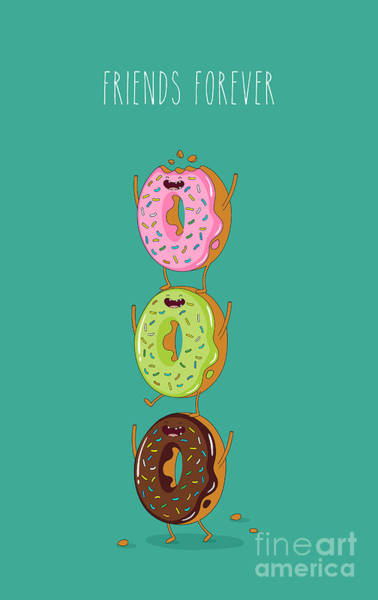 Delicious Wall Art - Digital Art - Funny Donuts. Vector Illustration by Serbinka