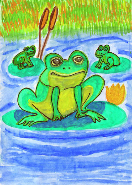 Painting - Funny Frogs by Irina Dobrotsvet