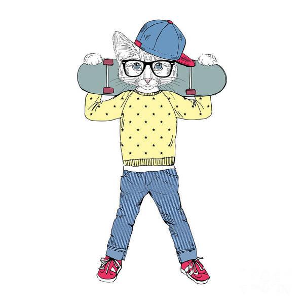 Wall Art - Digital Art - Funny Kitten Boy With Skateboard by Olga angelloz