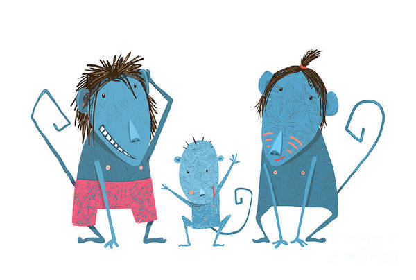 Wall Art - Digital Art - Funny Monkey Family Hand Drawn Cartoon by Popmarleo