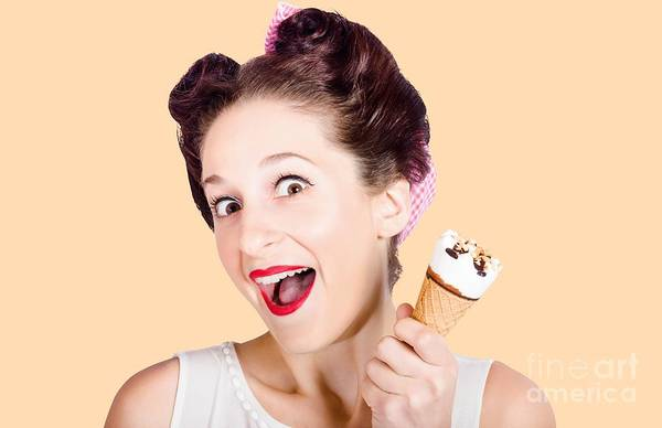 Vivacious Wall Art - Photograph - Funny Pinup Girl With Ice Cream In Isolated Studio by Jorgo Photography - Wall Art Gallery