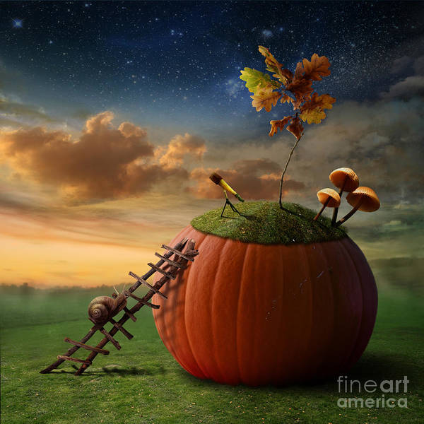 Cosmos Digital Art - Funny Poster With Snail-astronomer And by Oxa