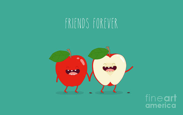 Wall Art - Digital Art - Funny Red Apple. Use For Card, Poster by Serbinka