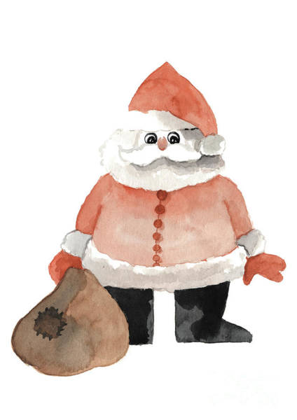 Wall Art - Painting - Funny Santa With A Patched Sack by Joanna Szmerdt