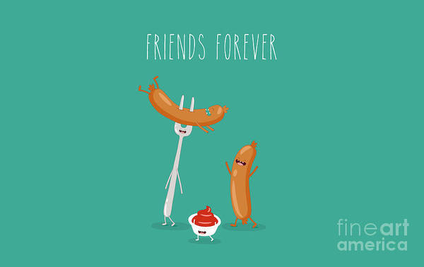 Delicious Wall Art - Digital Art - Funny Sausage On A Fork With Ketchup by Serbinka
