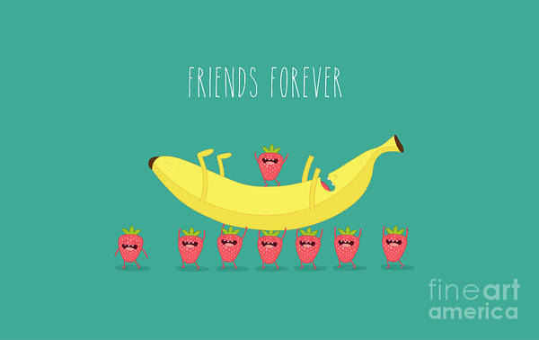 Wall Art - Digital Art - Funny Strawberry With Banana. Comic by Serbinka