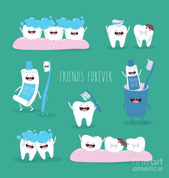 Sick Wall Art - Digital Art - Funny Teeth Set Consisting Of by Serbinka
