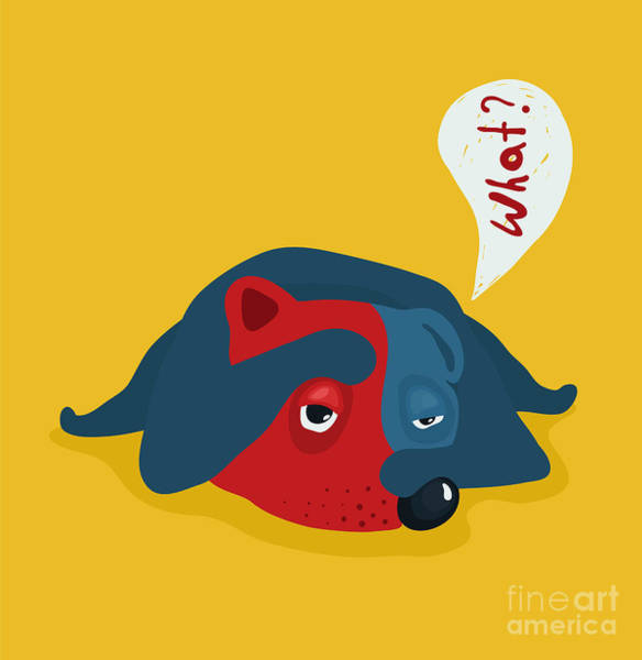 Sick Wall Art - Digital Art - Funny Tired Or Lazy Dog Illustration by Popmarleo