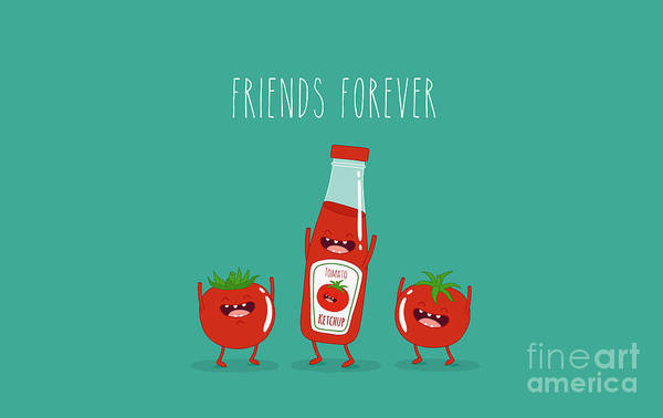 Wall Art - Digital Art - Funny Tomato Ketchup And Tomato. Friend by Serbinka