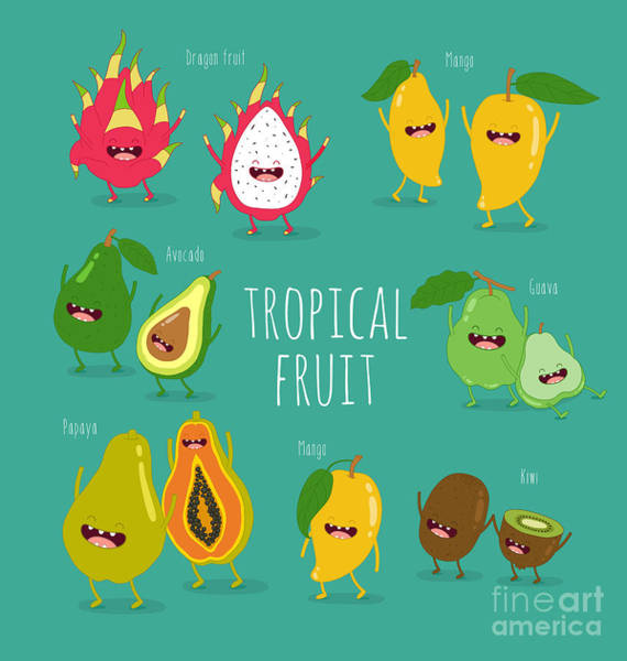 Wall Art - Digital Art - Funny Tropical Fruits. Guava, Papaya by Serbinka